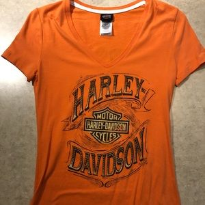 Harley Davidson Womens S orange shirt